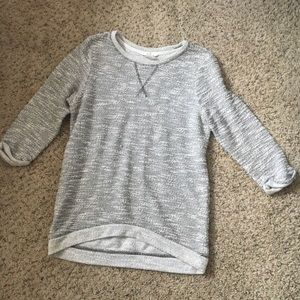 H&M marled Gray hi low hem 3/4 sleeve crew neck XS